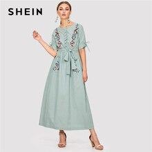 Шеин цветочной вышивкой карман хиджаб платье зеленый круглый Средства ухода за кожей шеи короткий рукав Для женщин Повседневное Макси платье 2018 элегантные весенние длинное платье
