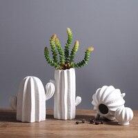 Modern white ceramic cactus decoration xmas gift figurines porcelain art craft for home ornament accessories feng shui decor art
