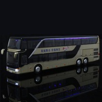 1:32 Free Shipping Double Sightseeing Bus Alloy Car Sound & Light Pull Back Diecast Car Model Toy Cars for Birthday Gift