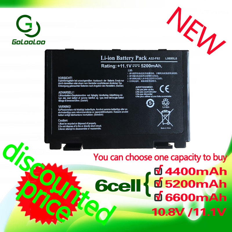 Golooloo Battery For Asus K40 K42J K42 K50c K51 K60 K61 A32-f82 A32-F52 F52 A32 F82 K40in K50 K50iJ K51 K50AB K50ID K50iJ N82