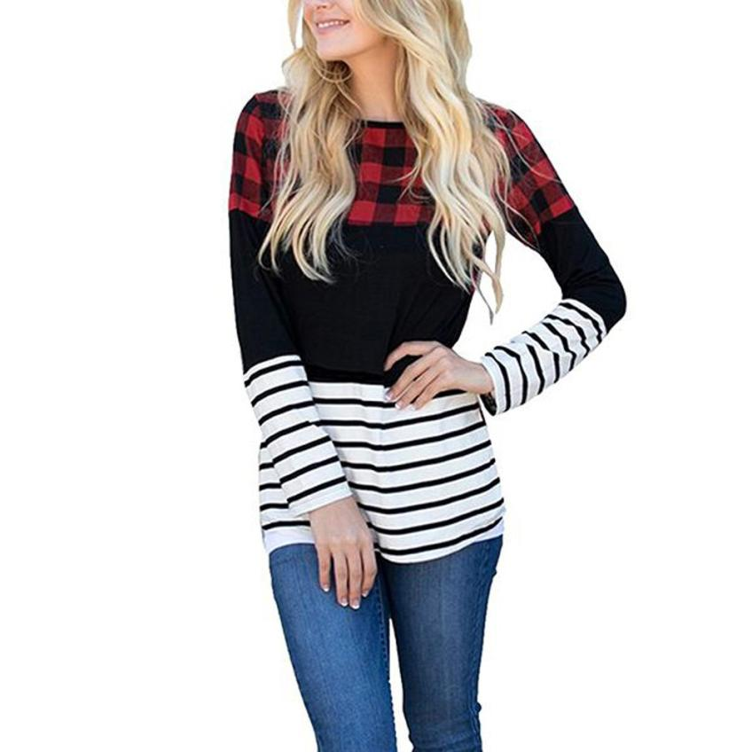 T Shirt Women Clothes 2019 Tshirt Long Sleeve Top Womens Clothing T-Shirts Cotton Casual Patchwork Striped Plaid Tee Shirt Femal