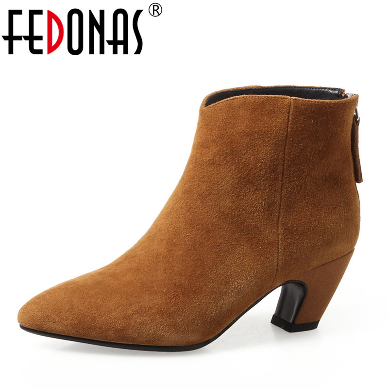FEDONAS Fashion Women Autumn Winter Warm Genuine Leather Boots Shoes Woman Ankle Boots Ladies Thick High Heel Elegant Pumps fashion square toe zip genuine leather solid nude women ankle boots thick heel brand women shoes ladies autumn short boots