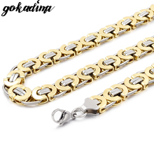 Gokadima Mens Stainless Steel Necklaces Jewelry Byzantine Chains Hip Hop,Rock,Gift,2019 Party accessories WN100