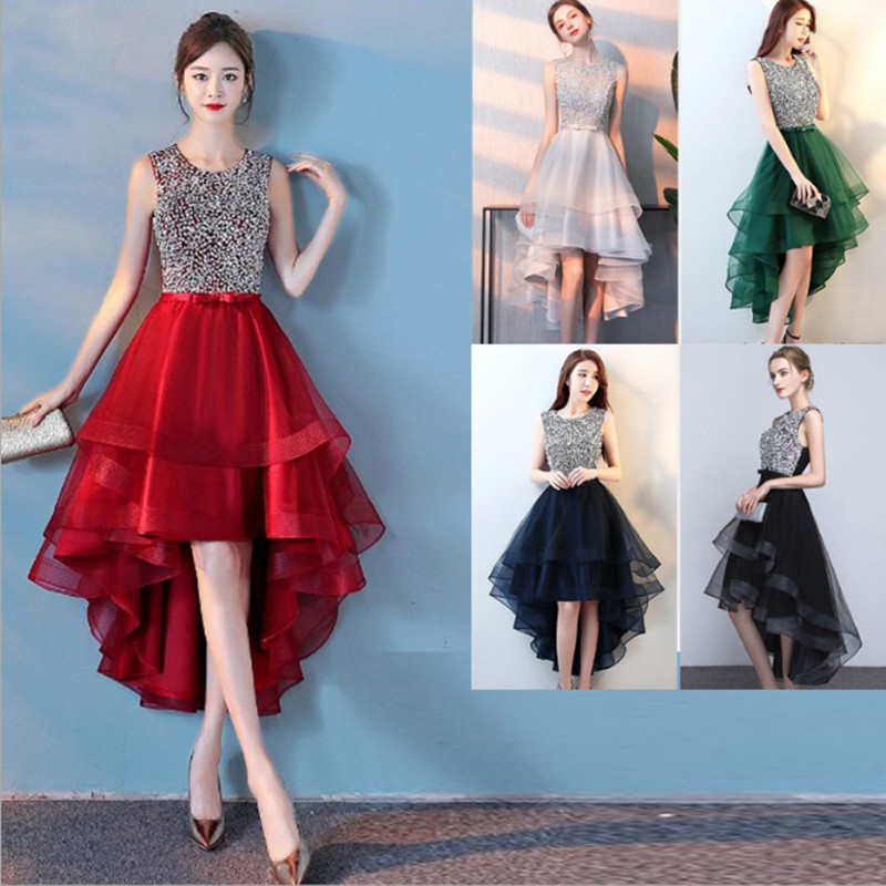 Beauty Emily New Asymmetrical   Evening     Dress   For Wedding Sequins Rhinestone Beads Round Neck Sleeveless Open Back party Gowns