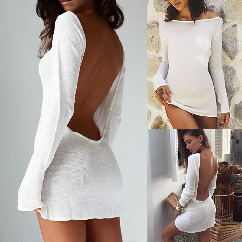Fashion Women Ladies Summer Sexy Slim Long Sleeve Backless Bodycon Cocktail Party Short Mini Dress