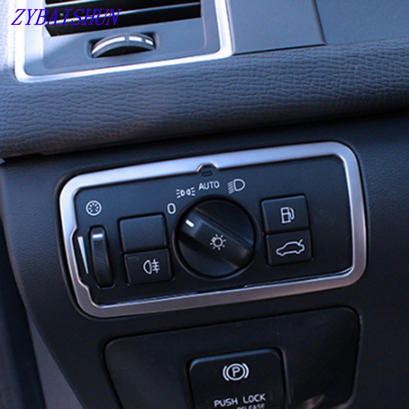 ZYBAISHUN Stainless steel Headlight switch <font><b>frame</b></font> trim cover for <font><b>Volvo</b></font> XC60 <font><b>S60</b></font> V60 S80 V40 Vehicle styling accessories image