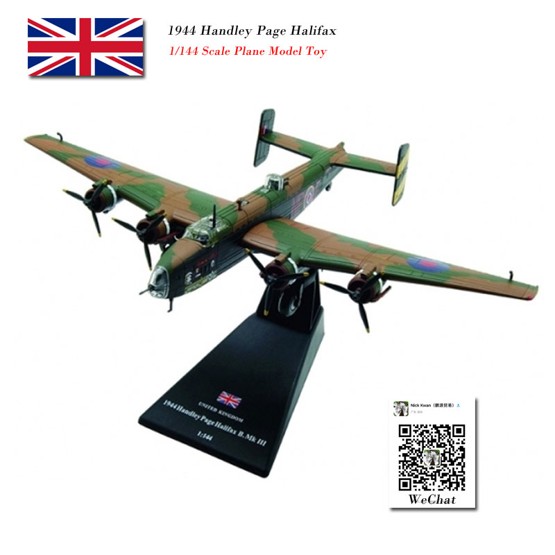 AMER 1/144 Scale Royal Air Force 1944 Handley Page Halifax Heavy Bomber Diecast Metal Plane Model Toy for Collection,Gift,Kids image