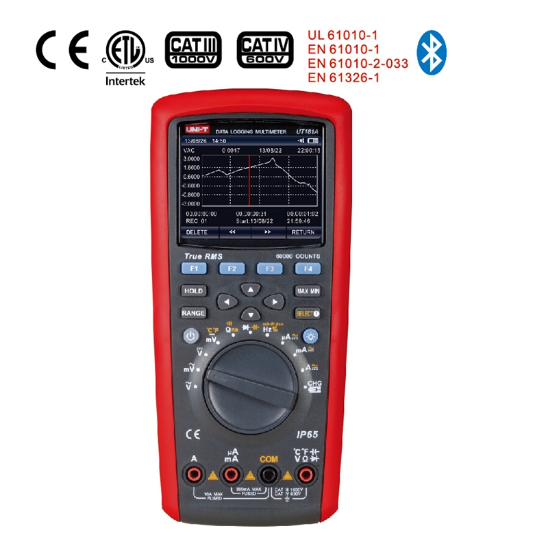 Цифровой мультиметр UNI T UT181A, Реальная RMS регистрация данных DMM, Емкостной измеритель температуры, перезаряжаемая батарея Li батарея ЕС разъем