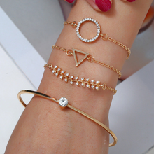 HOCOLE 4 Pcs/Set Fashion Gold Metal Crystal Chain Bracelet Sets For Women Adjustable Geometric Bangle Jewelry Girl Gift