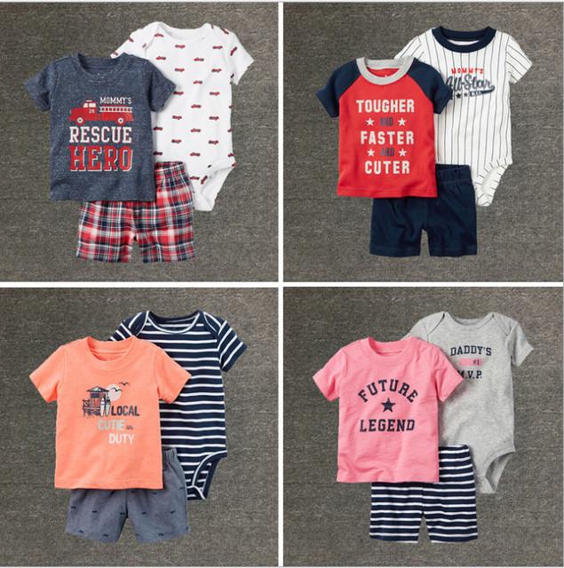 Nueva carter manga corta set Niños Bebés Ropa Sets 6-24 Meses next estilo de ropa infantil de verano conjunto de roupa infantil bebes niños conjuntos