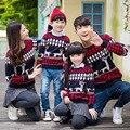 Осень зима семьи мать и дочь родитель-ребенок наряд мама и папа сын свитер famliy смотреть