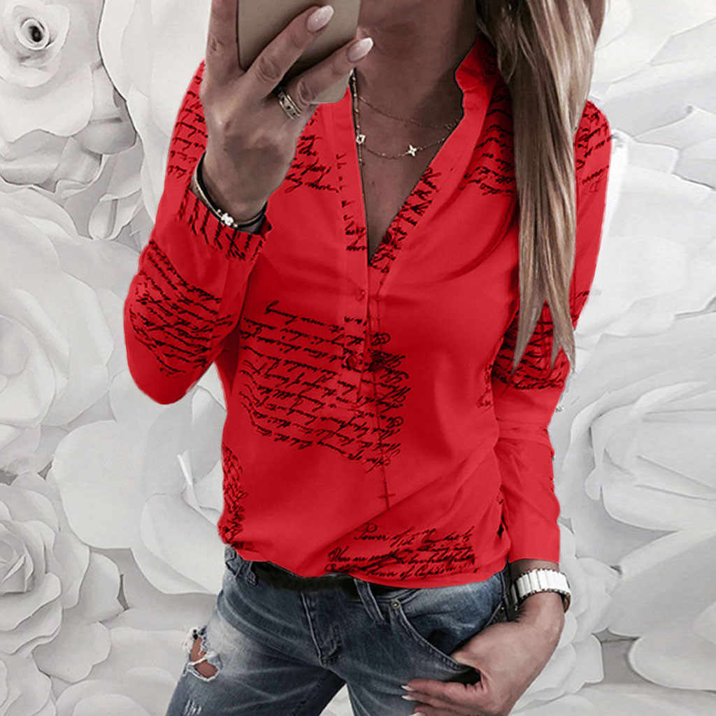 Vrouwen Blouse V Hals Letters Printing Knop Lange Mouw Toevallige Womens Tops En Blouses Zomer Tuniek Tops Blusas 2019