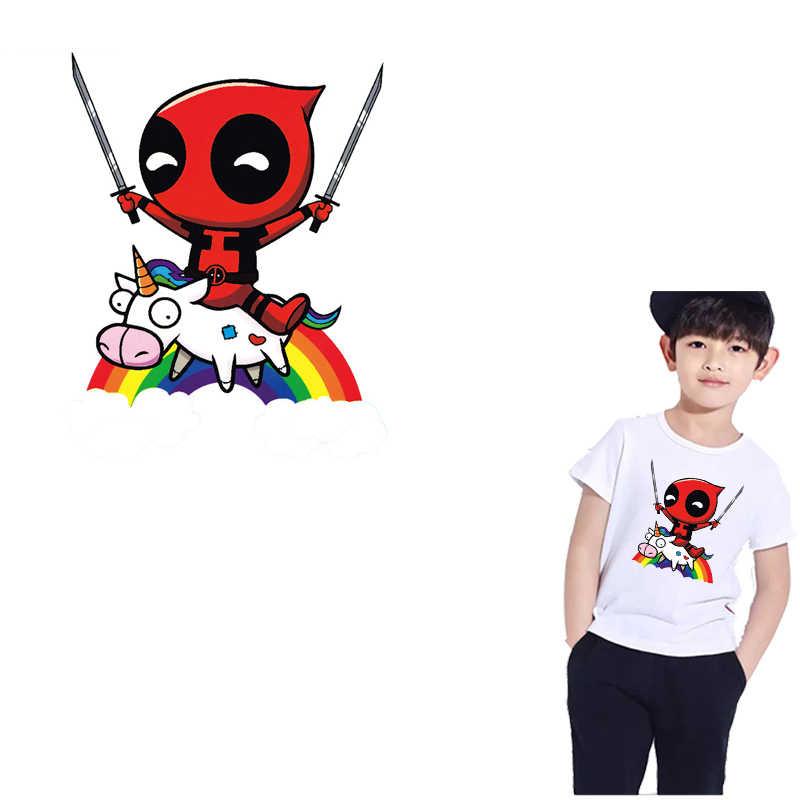 Parches de planchado con rayas de unicornio para hombre hormiga, decoración de ropa, transferencia de calor para adhesivos para ropa, insignias DIY, camiseta para niños, Tops E