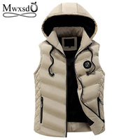 Mwxsd Brand Winter men's Warm sleeveless Vest men cotton hooded jacket male zipper Waistcoat for Autumn male gilet homme