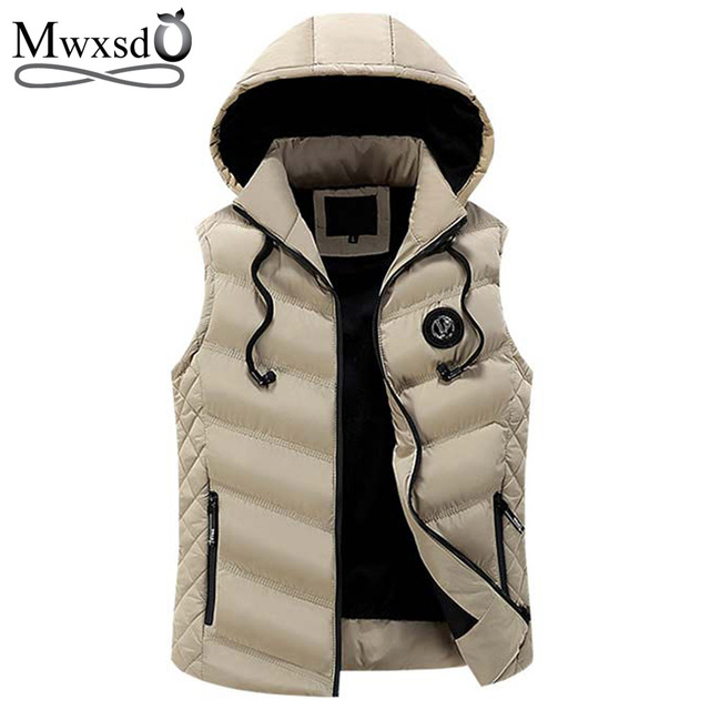 Mwxsd Brand Winter mens Warm sleeveless Vest men cotton hooded jacket male zipper Waistcoat for Autumn male gilet homme