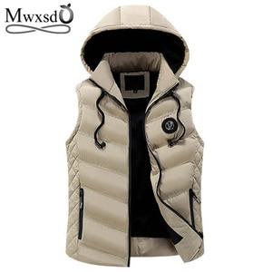Image 1 - Mwxsdฤดูหนาวผู้ชายเสื้อกล้ามชายเสื้อแจ็คเก็ตผ้าฝ้ายชายซิปWaistcoatสำหรับฤดูใบไม้ร่วงชายGilet Homme