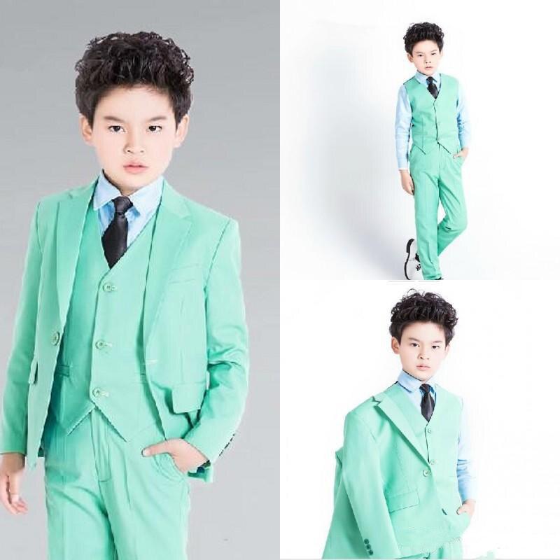 Vert garçon Tuxedos pour mariage Slim cranté revers un bouton anneau porteur costumes costume de fête des enfants (veste + pantalon + gilet + B