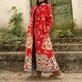 Национальный Ветер Женщин Размер Свободный Плюс Старинные Китайский Стиль Облака и Дракона Печати Хлопок Лен Длинные Макси Пальто