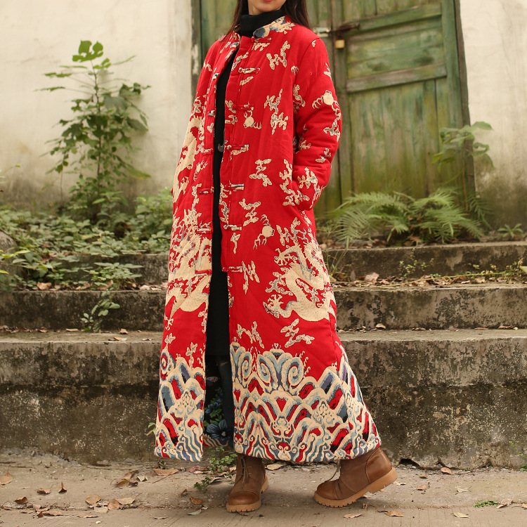 National Wind Women Loose  Vintage Chinese Style Clouds and Dragons Print Cotton Linen Long Maxi Trench Coat dragons фигурка toothless сидящий
