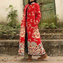 National Wind Women Loose Plus Size Vintage Chinese Style Clouds and Dragons Print Cotton Linen Long Maxi Trench Coat