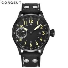 189d52ba31e Escovado 43mm corgeut black dial sapphire vidro 6497 mão mens sinuosas  assista(China)