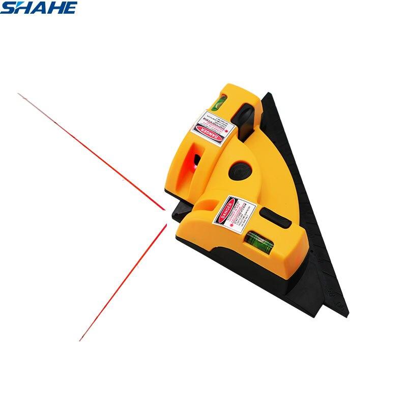 SHAHE الزاوية اليمنى 90 درجة مربع مستوى الليزر عمودي أفقي خط الليزر الإسقاط أداة القياس مستوى الليزر