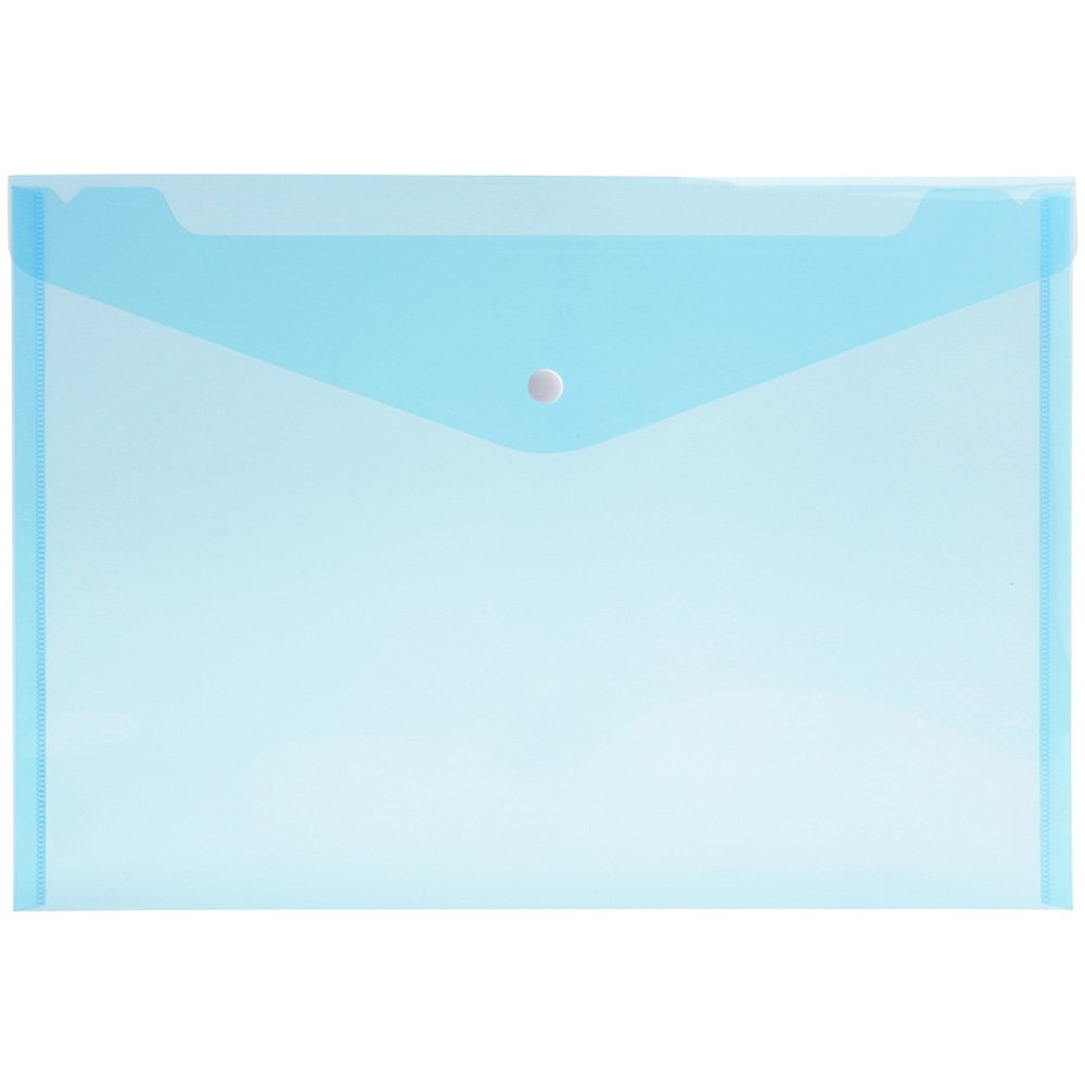 20pcs Transparent Button File Bag A4 Paper Size PP Water Resistant File Holder Clear Filing Envelope with Snap Button