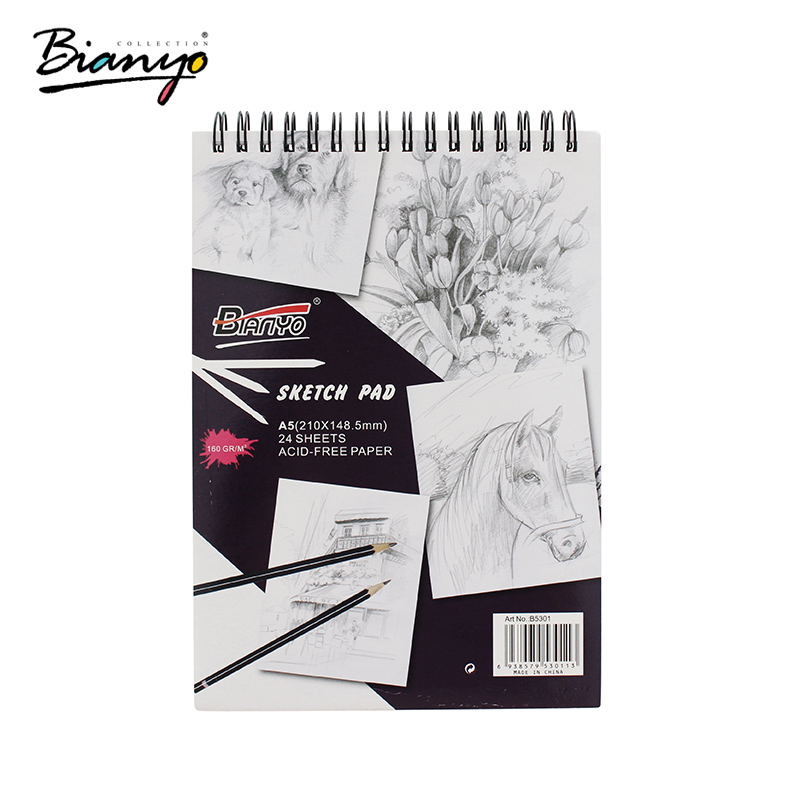 Bianyo 160gsm A4 A5 Sketch Book Stationery Notepad SketchBook For Painting Drawing Diary Journal Creative Notebook Gift potentate 80gsm a5 24 sheets sketch book notebook notepad sketchbook for painting drawing diary journal creative gift