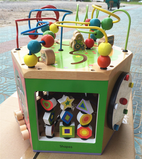 New Arrival Baby Toys 6 In1 Multifunction Hexahedral Around The Bead Gallery Wooden Toys Infant Early Learning Educational Gift new arrival nut assembly tool box 68pcs baby wooden toys child educational garden tool toys nut combination chirstmas gift