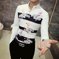 Male new spring autumn lapel collar floral flower printed slim fit shirt long sleeve men's dress shirt blouse