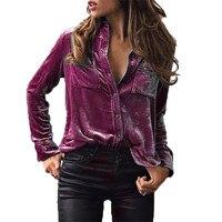 Womens Velvet Blouse 2018 New Arrival Solid Long Sleeve Shirt Lapel Button Front Top Ladies Fashion