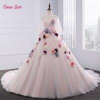 TaooZor Noble Flores de Colores Rosa Claro de Tulle del vestido de Bola Vestidos de Novia 2018 de Novia de Escote Lace Up Back Vestidos de Novia