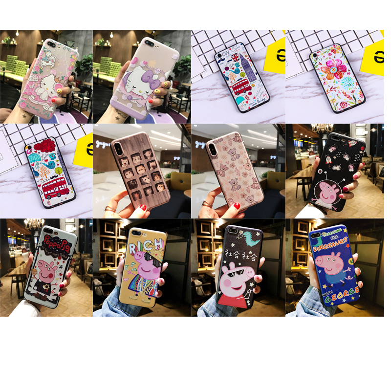 Cartoon animal 3D Cute HELLO KITTY cat Pig phone case TPU Silicone Rubber Soft Cover Cases for iphone 5 5S SE 6 6S 7 8 Plus X