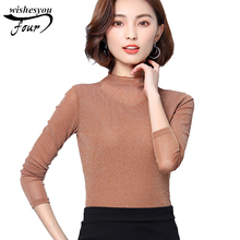 2017 new high collar slim Bright wire lace spliced women clothing top blusas long-sleeved solid women's blouses shirt 183i 30