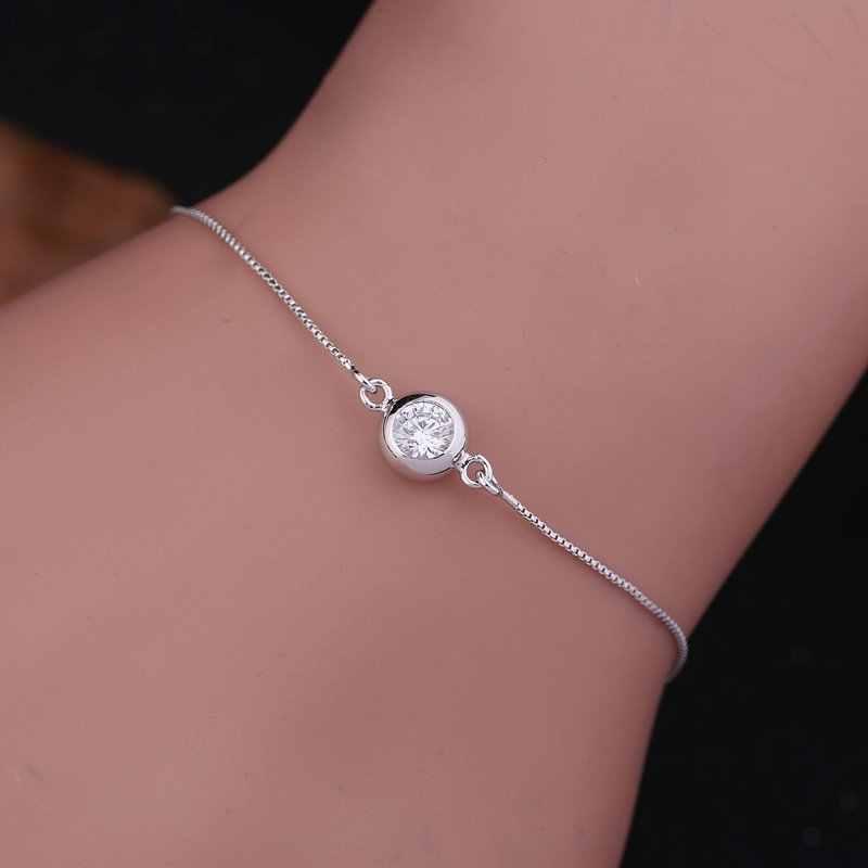 MIGGA Single Cubic Zirconia Crystal Bracelet Chain Rose White Gold Color Fashion Women Ladies Jewelry