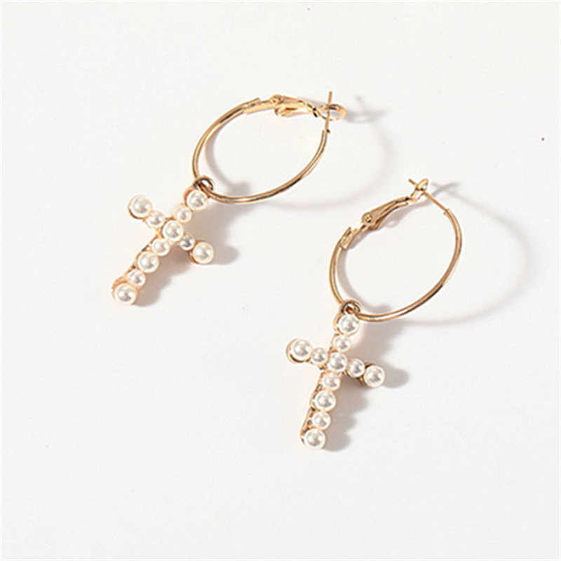 Fashion Imitation Pearl Hoop Earrings Gold Color Cross Earrings for Women  Vintage Fashion Jewelry Brincos Gifts Wholesale