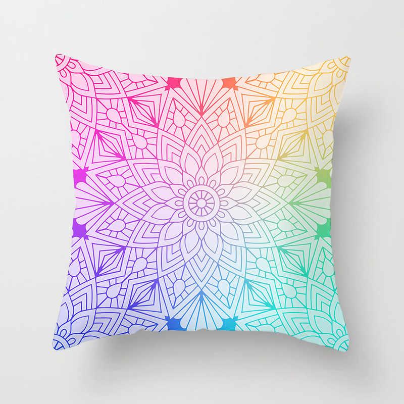 Fuwatacchi Mandala çiçek boya minder örtüsü Polyester geometrik yastık örtüsü ev dekorasyon kanepe ramazan atmak yastık kılıfı