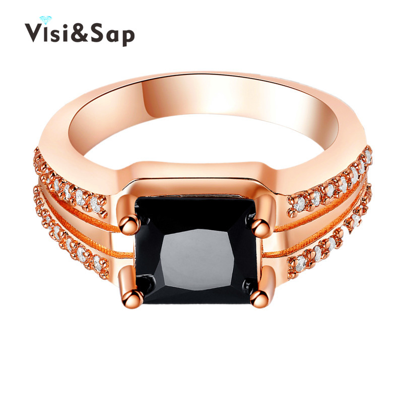 Vissap Wholesale Rose Gold plated black stone Wedding Rings For Women finger bague fashion Jewelry AAA Cubic zirconia VSR175