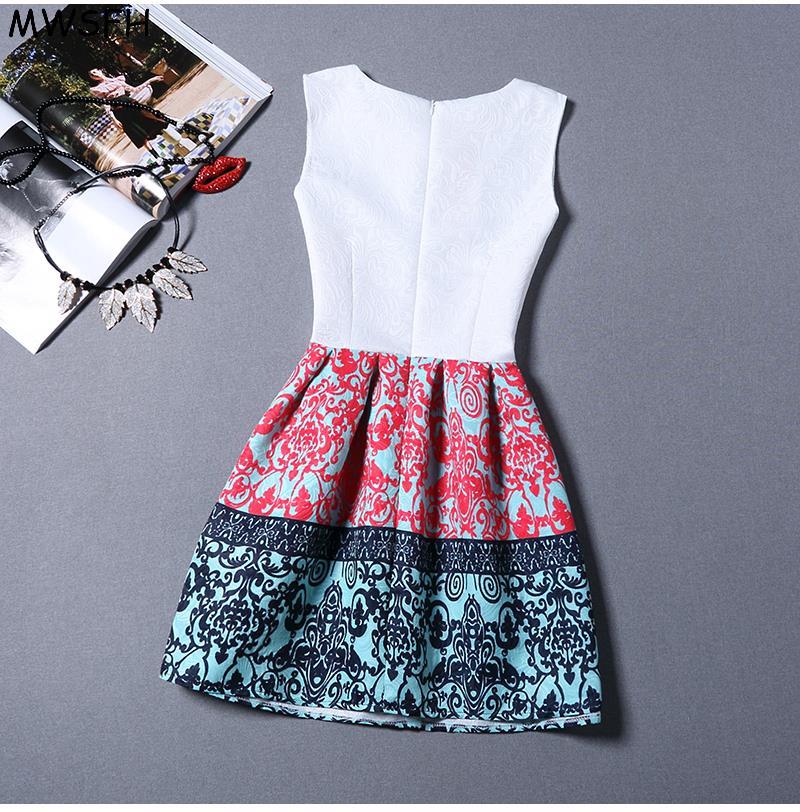 Nwsfh kadınlar moda dress retro yuvarlak boyun baskı kolsuz - Bayan Giyimi - Fotoğraf 2