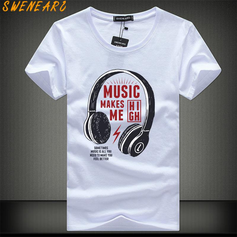 SWENEARO High Quality Men T-shirt Brand Clothing 2018 Summer New Fashion Geometry Design Mens T Shirt Loose Print Tshirts Male