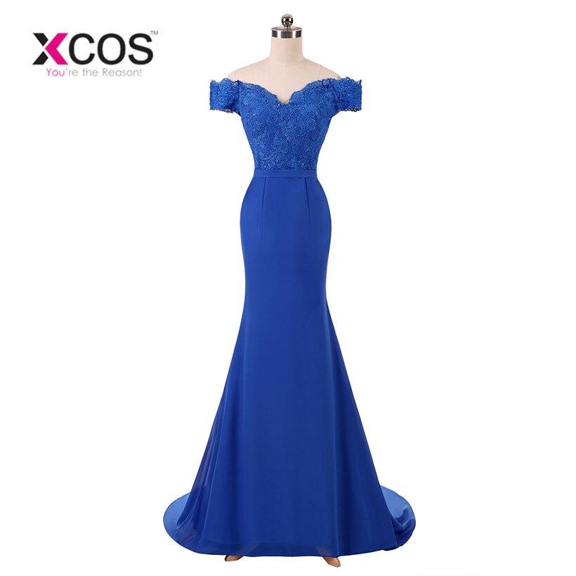 XCOS longue robe De bal bleu Royal dentelle Vestido De Festa étage longueur robe De soirée robe De soirée sirène robes De bal 2018