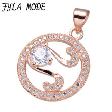 Fyla Mode Luxury Cubic Zirconia Charms Rose Gold Plated Music Sign Charms Pendant Fit Jewelry Making Bracelet DIY Craft 20*17mm