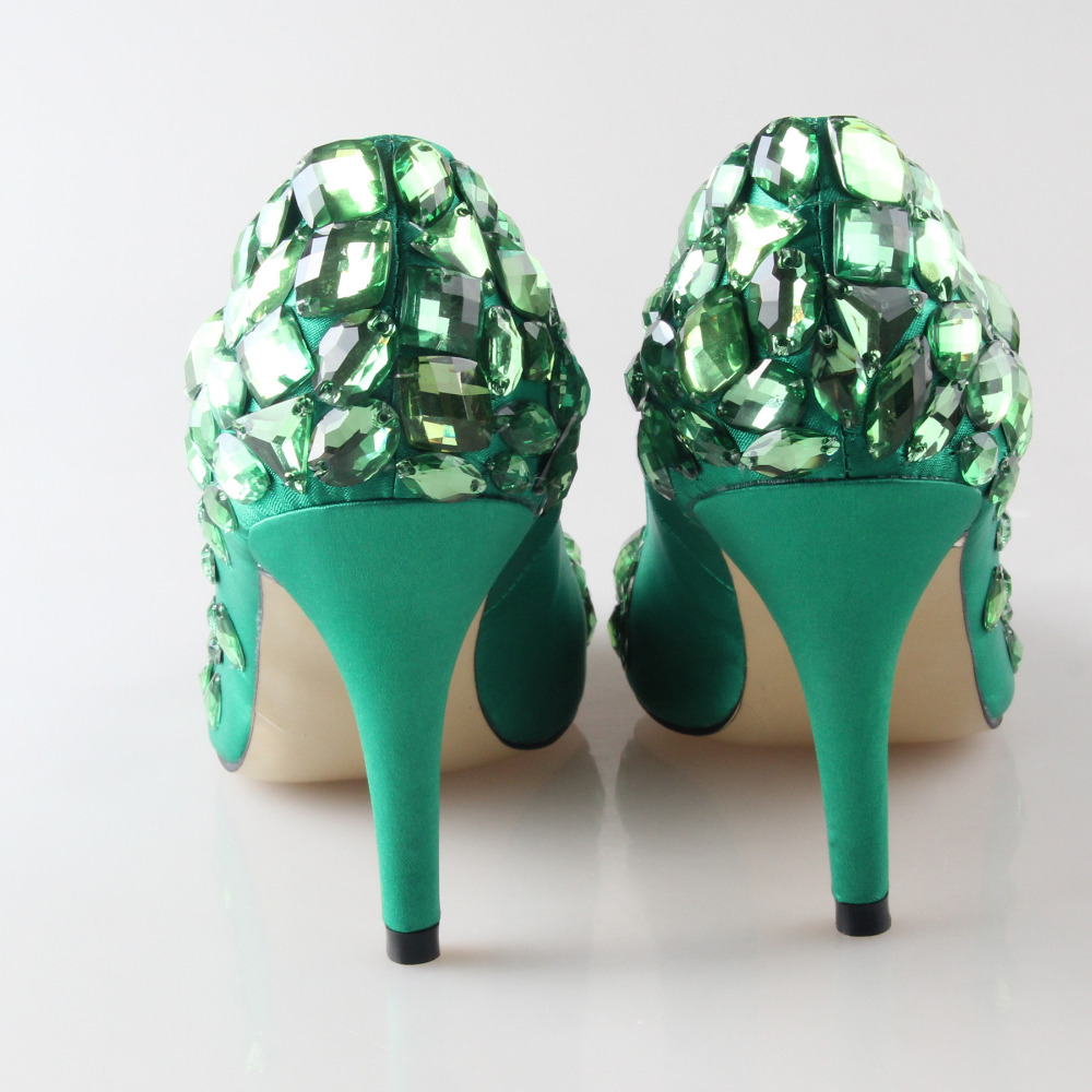 Handmade green jade emerald satin with sewed crystals one toe and ...