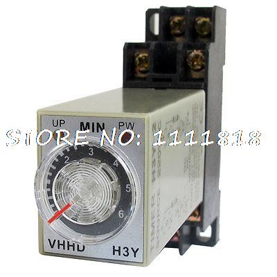 AC 220V 6Min 0-6 Minute Delay Timer Time Relay H3Y-2 + 8 Pin DIN Rail Socket ac 220v power on delay timer relay and socket asy 3d 99s relays