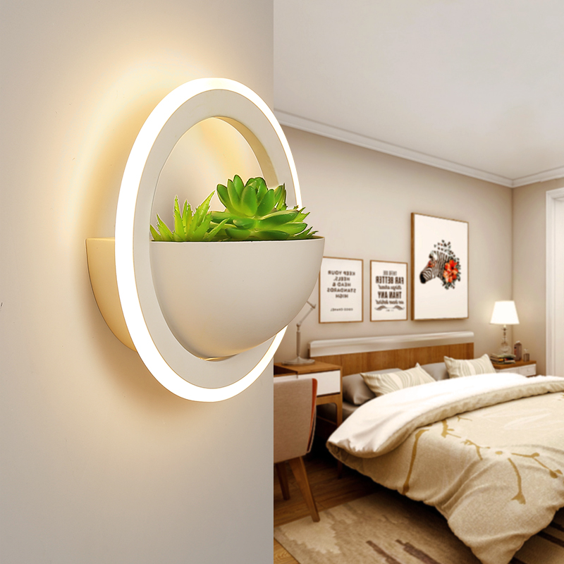 White Modern Led Wall Lights For Bedside Bedroom/Dinning Room/Restroom Decoration With Plant Led Wall Lamp Home Decoration