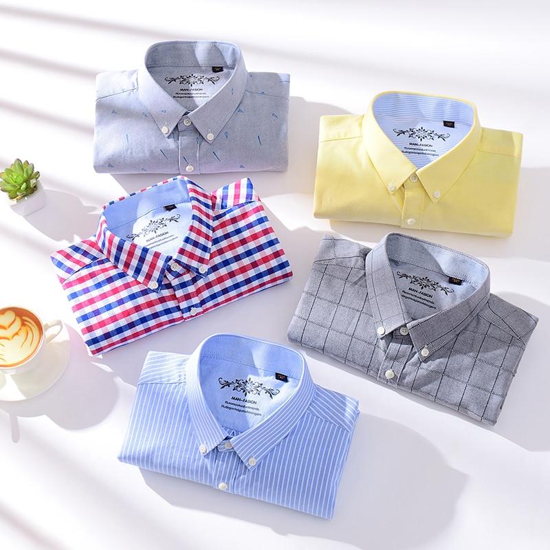 Aoliwen brand men Spring and Autumn New Jacket Top 60%Cotton Oxford Long Sleeve Button Men Shirt palid stripe casual shirts
