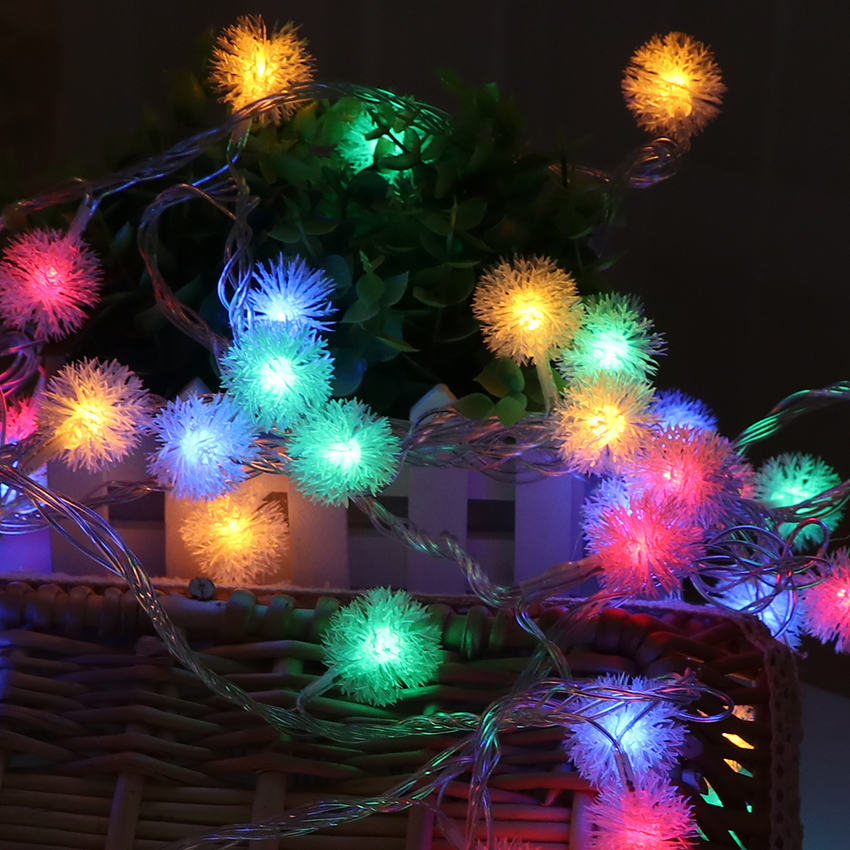 New 1 2m 10bulbs Portable Garland Lamp Cotton Ball Fairy Led Christmas Lights Chain Holiday Decoration Lighting String Light In From