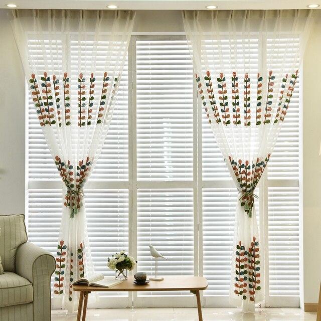 Pastoral Bestickt Farbe Blätter Tüll Vorhänge Für Wohnzimmer Gardinen Für  Schlafzimmer Fenster Drapieren