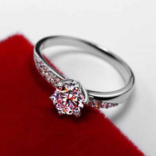 0.6CT Round LC Synthetic Diamonds Engagement Ring Pure Silver Fine Jewelry Her Promise Love Birthday Gift Free Shipping