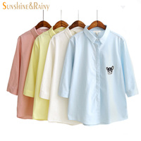 Hot Summer Korean Candy Color Shirt Women Blouse Cartoon Dog Printed Embroidery Design Three Quarter Sleeve